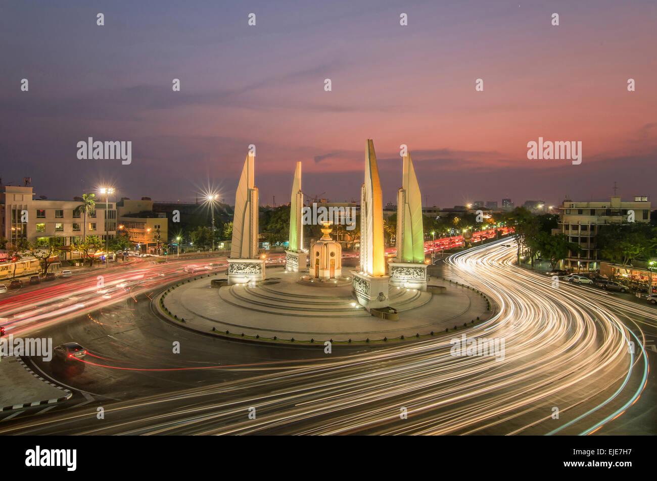 The Democracy Monument at twilight time at Bangkok,Thailand - Stock Image