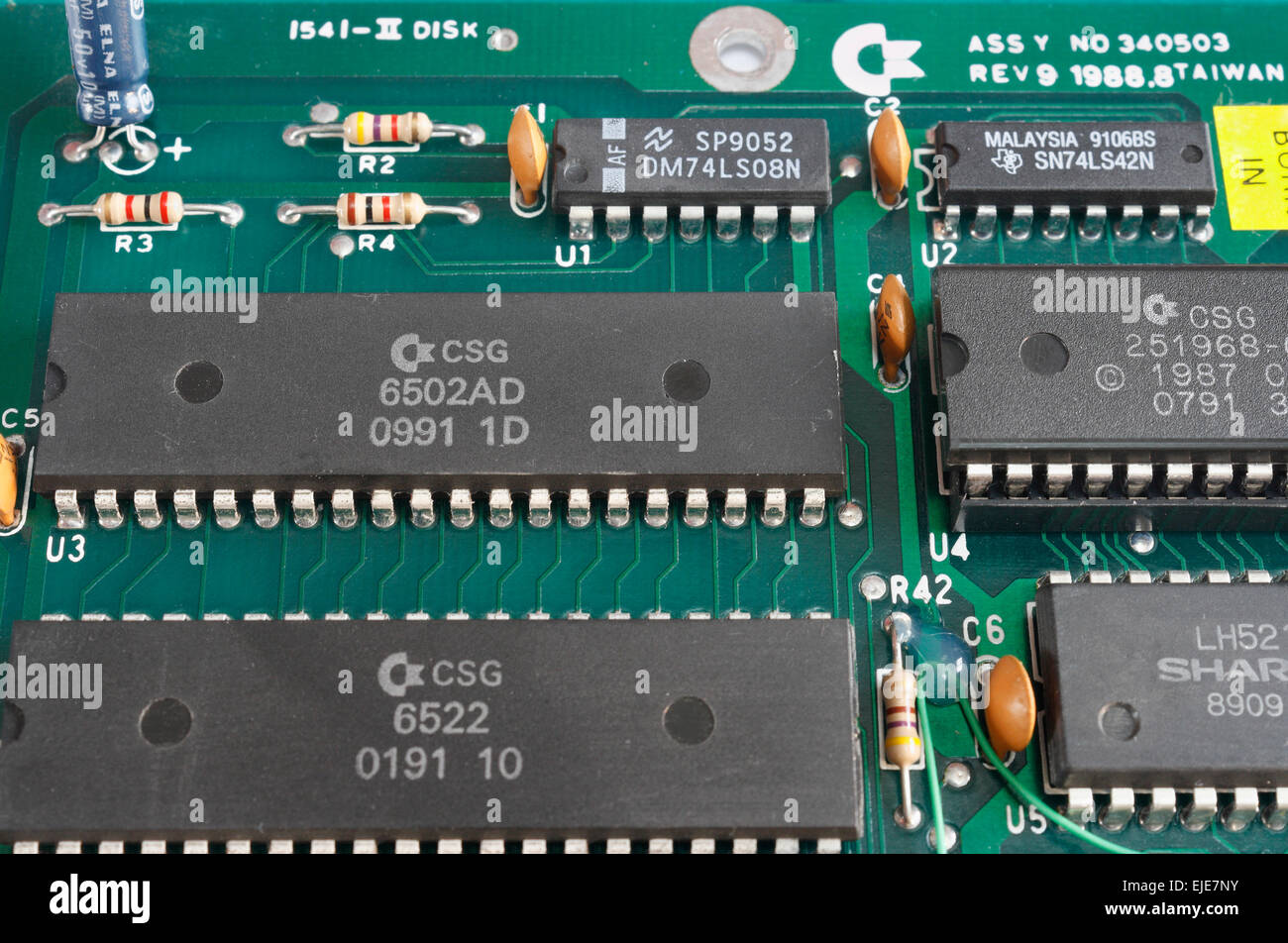 Printed Circuit Board With Integrated Circuits 6502 Microprocessor Electronics Chip