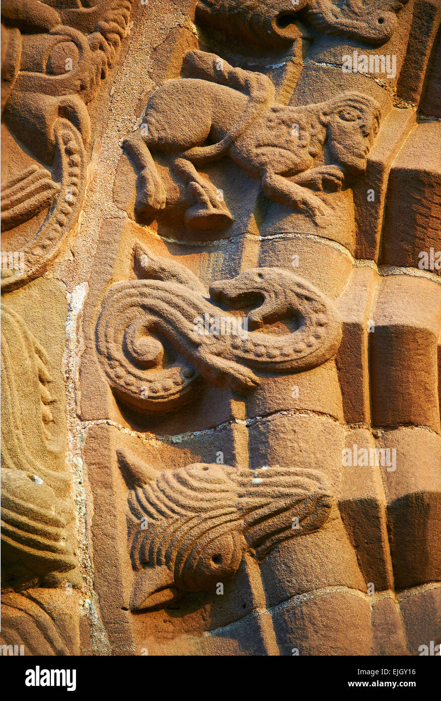 Norman Romanesque relief sculptures of dragons and mythical creatures. St Mary & St David Church, Kilpeck Hereford, - Stock Image
