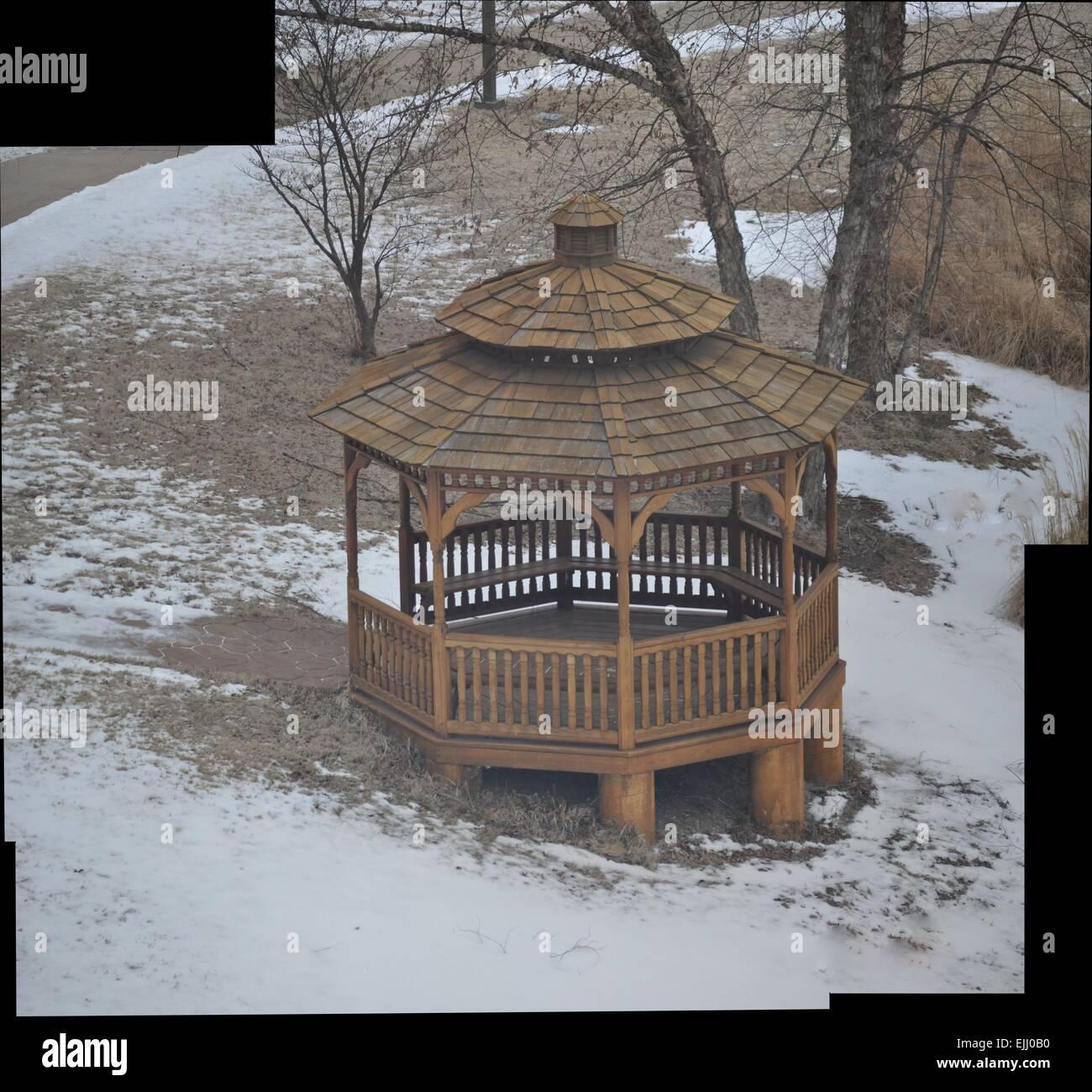 Ice, pagoda, oak, hill, stitch, winter, cold - Stock Image