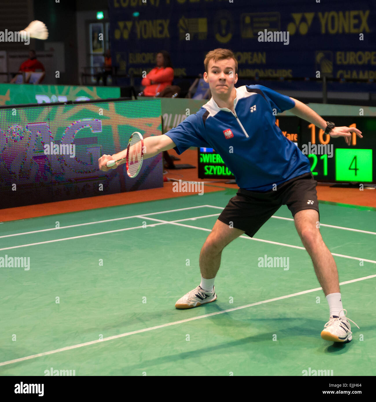 Lubin, Poland. 27th Mar, 2015. Team tournament in  badminton during European Junior Championships 2015. Match between - Stock Image