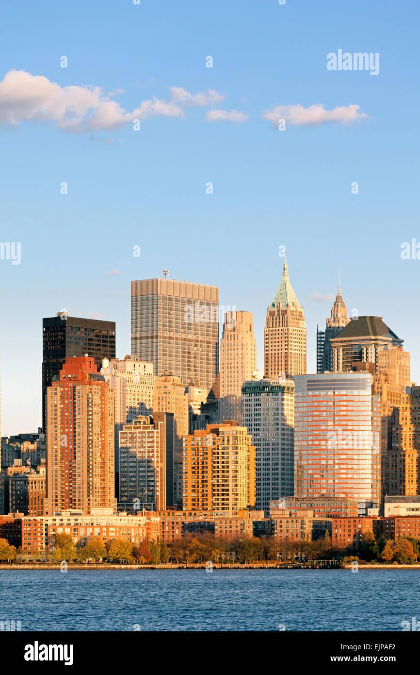 Downtown Manhattan across the Hudson River, New York, Manhattan, United States of America - Stock Image