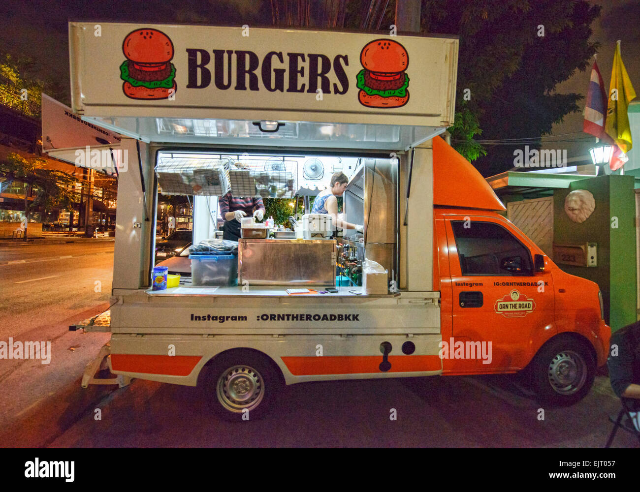 Hamburger food truck, Bangkok, Thailand - Stock Image