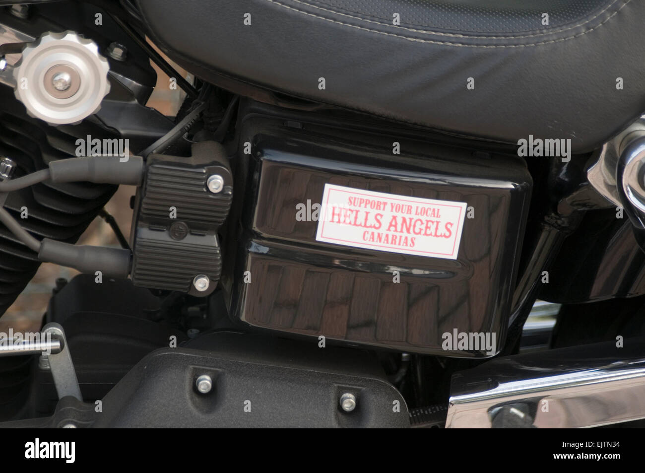 hells angels angel motorcycle gang gangs club clubs harley Davidson Davidsons sticker affiliation affiliations organized - Stock Image