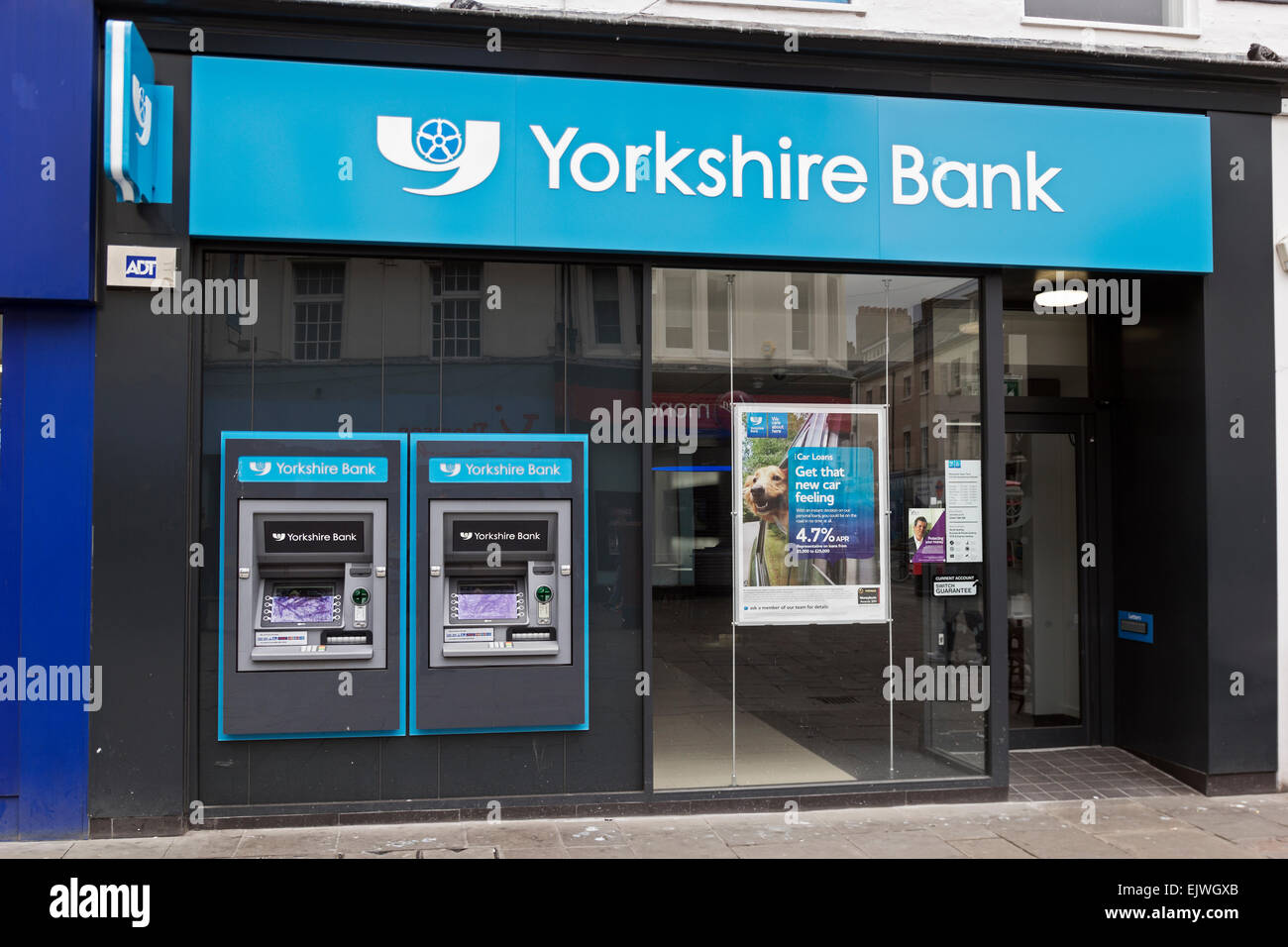 Branch of Yorkshire Bank on Northumberland Street, Newcastle upon Tyne with cash machines. Stock Photo