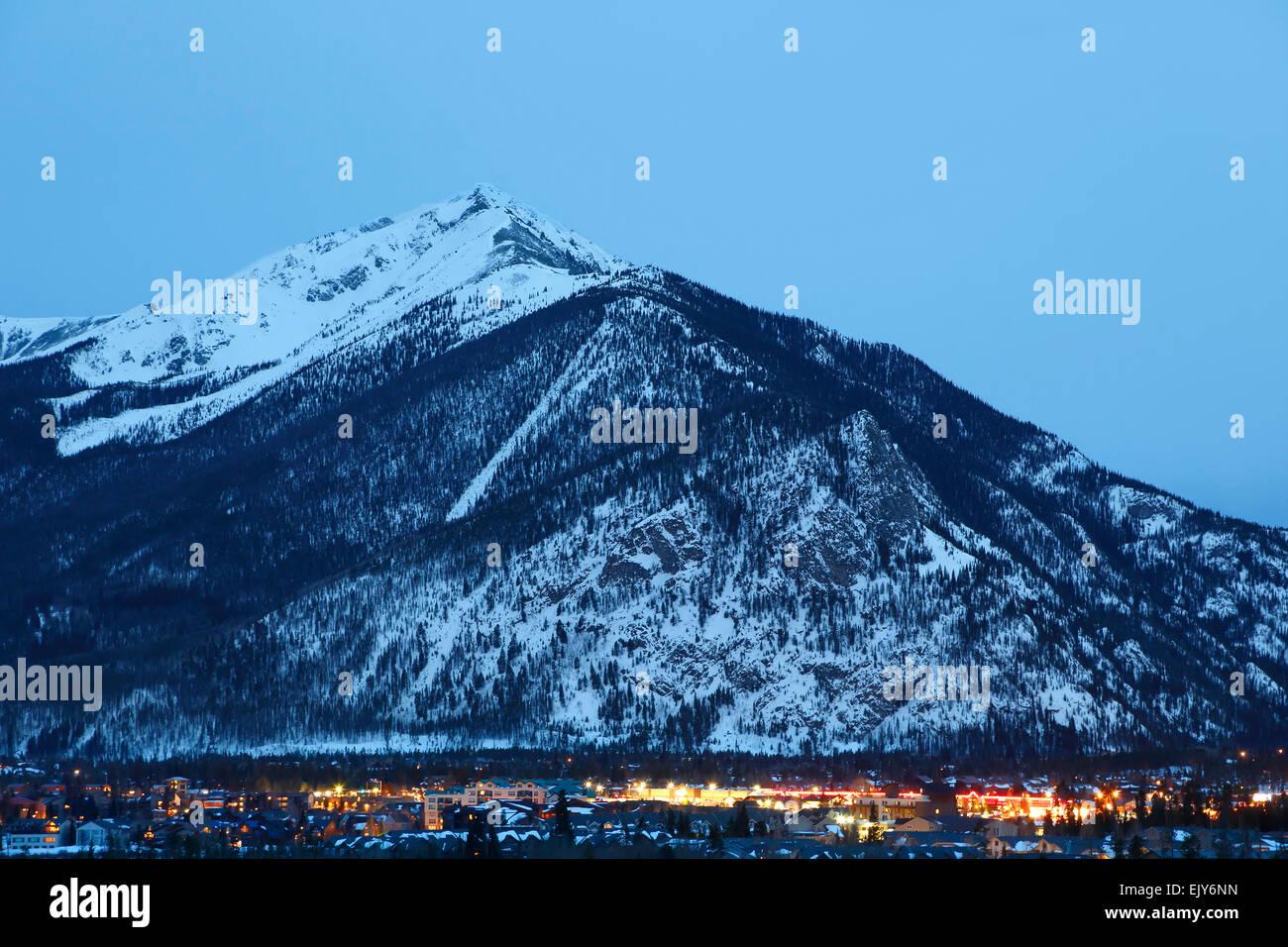 Ten Mile Peak (aka Peak 1) and town of Frisco, Colorado USA - Stock Image