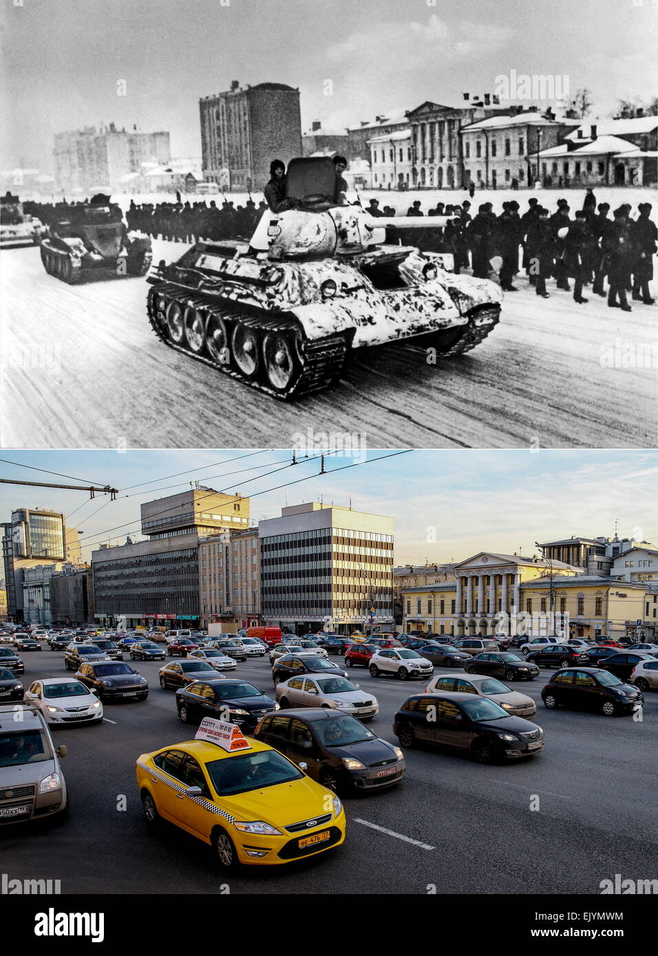 Moscow, USSR. Tanks and soldiers move along the Garden Ring (Sadovoye Koltso) as they head towards the battlefront, - Stock Image