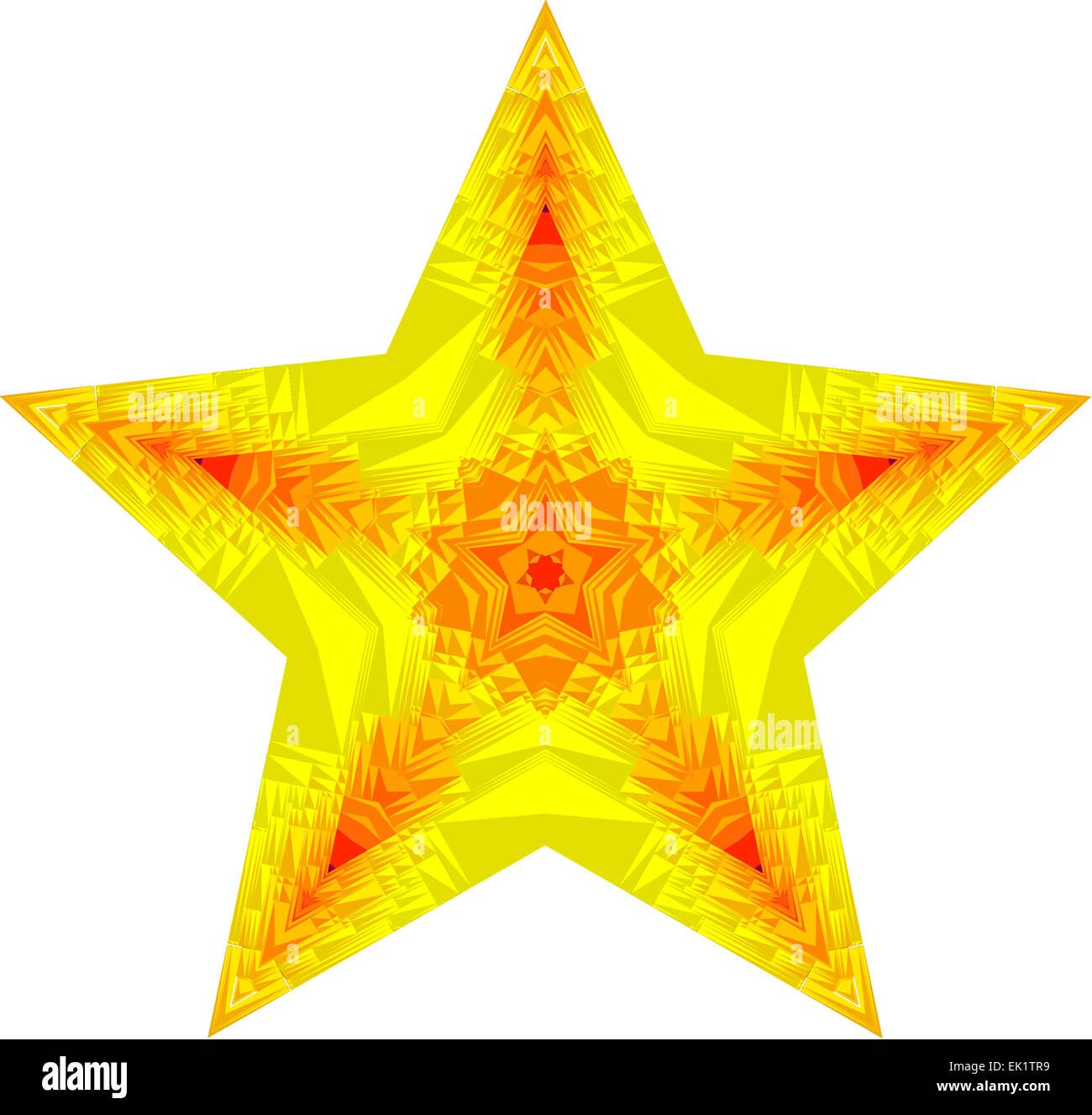 Mandala Star Symbol Showing 5 Points In Shades Of Yellow Red And