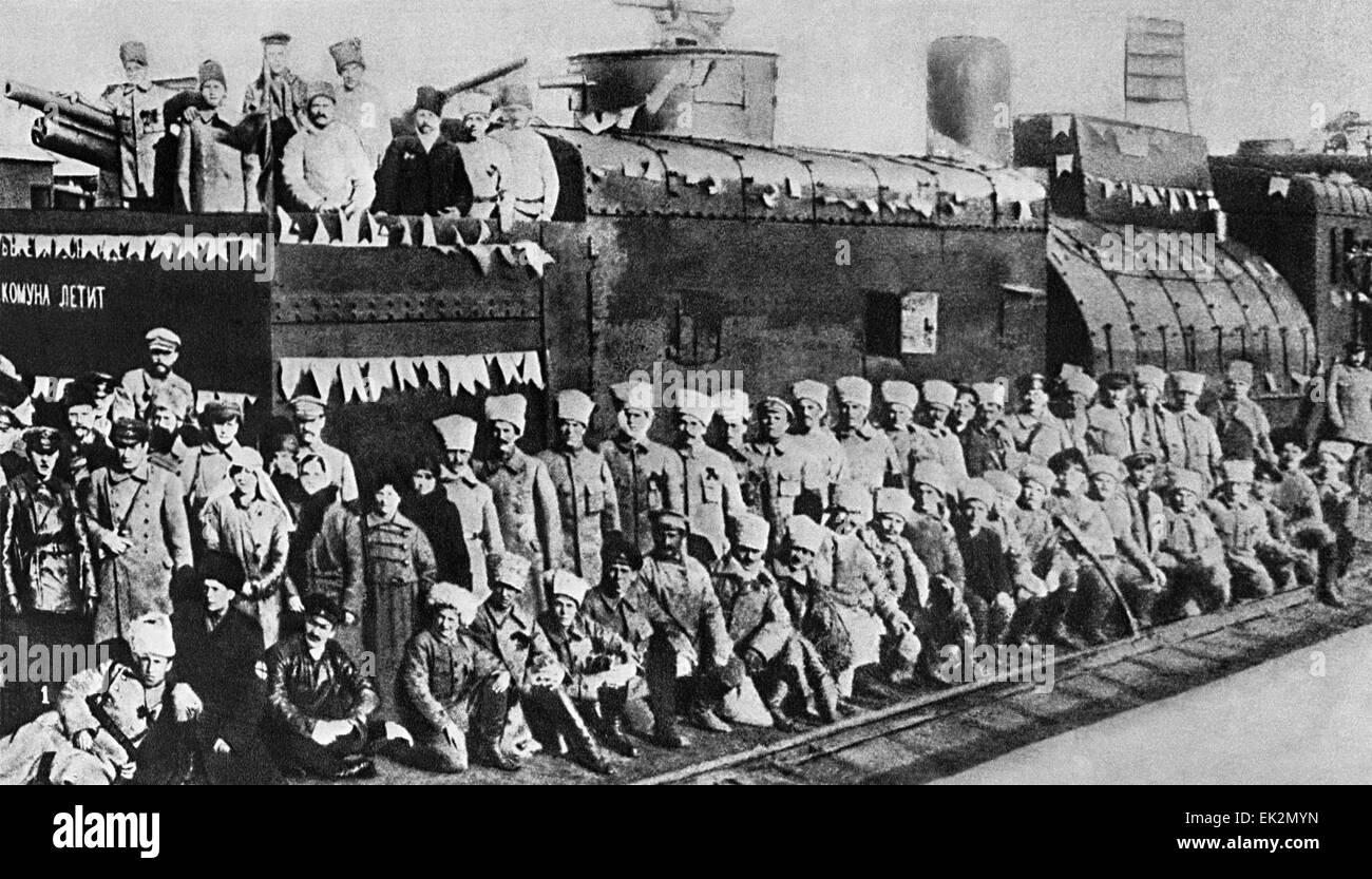 Civil war. An armoured train constructed by workers from Lugansk. Kliment Voroshilov among the team. - Stock Image