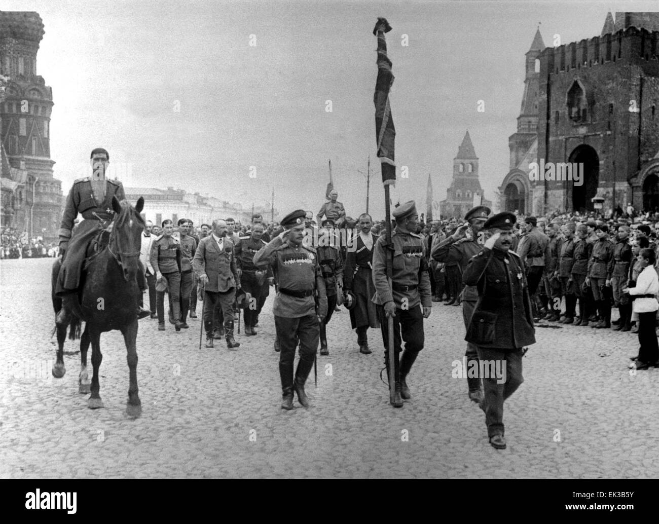 Moscow. A military unit marches downtown Moscow prior to its transportation to the battlefront in June 1917. Reprophoto - Stock Image