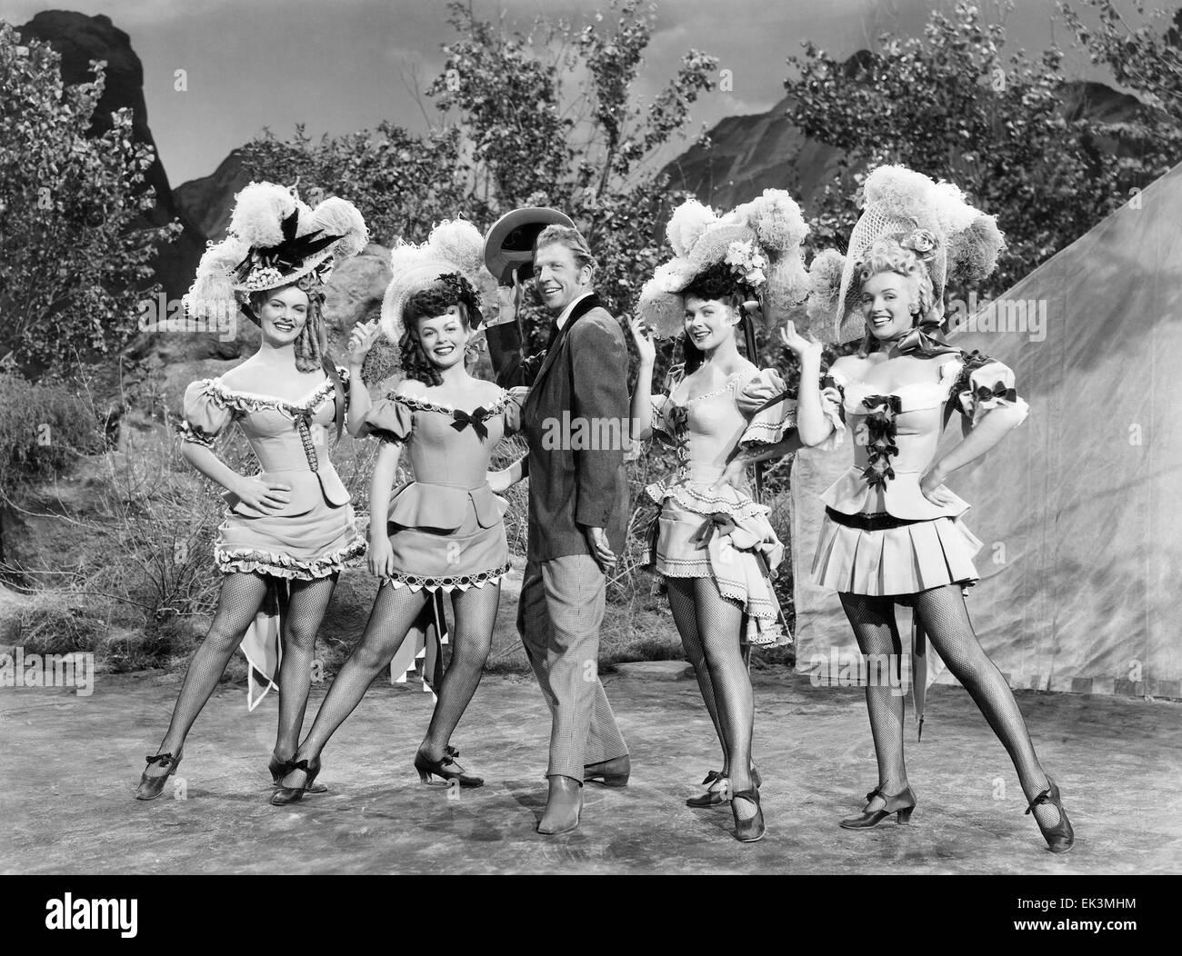 Dan Dailey with Chorus Girls Marion Marshall Joyce Mackenzie Barbara Smith Marilyn Monroe on-set of the Film 'A - Stock Image