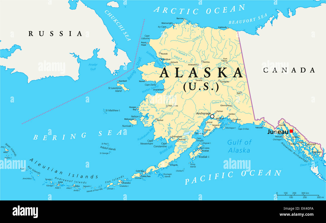 US State Alaska Political Map with capital Juneau national borders