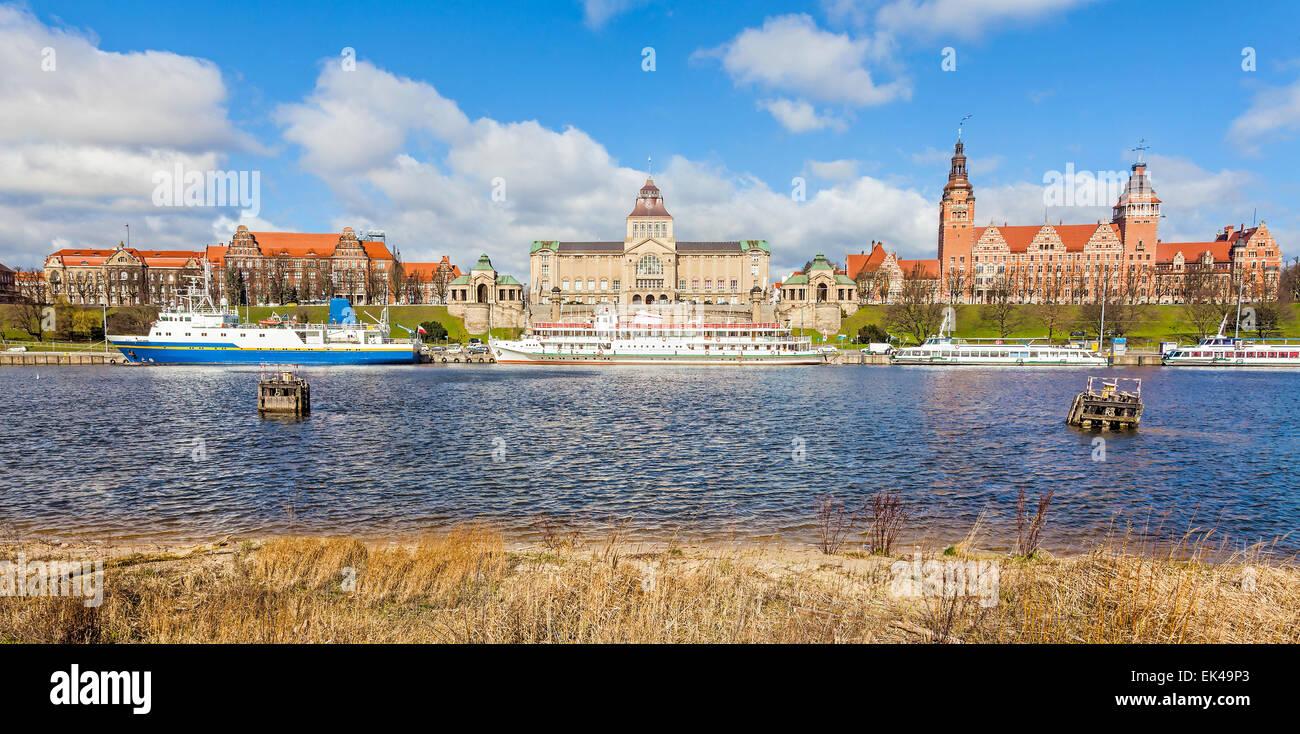 Panoramic view of Szczecin waterfront, Poland. - Stock Image