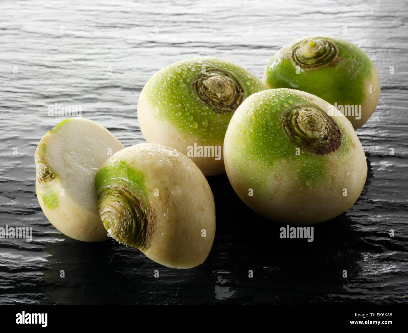 Fresh whole turnip or white turnip (Brassica rapa ) - Stock Image