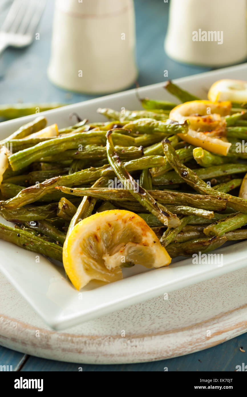 Homemade Sauteed Green Beans with Lemon and Garlic - Stock Image
