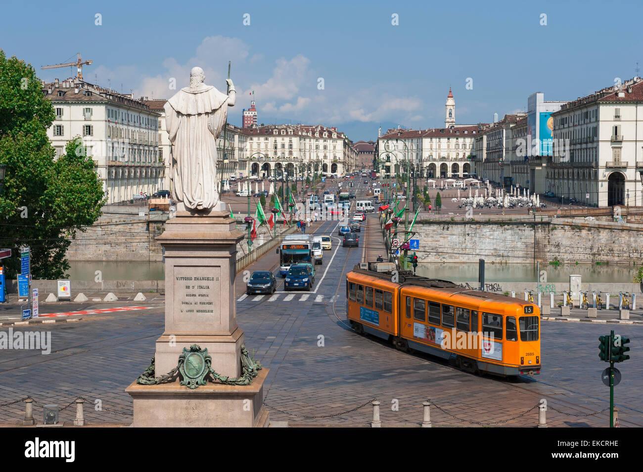 Turin city center ,view across the Ponte Vittorio Emanuele towards the Piazza Vittorio Veneto in the centre of Turin - Stock Image