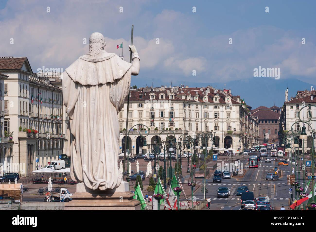 Turin Piazza Vittorio Veneto, rear view of statue of Vittorio Emanuele II facing the Piazza Vittorio Veneto in the - Stock Image