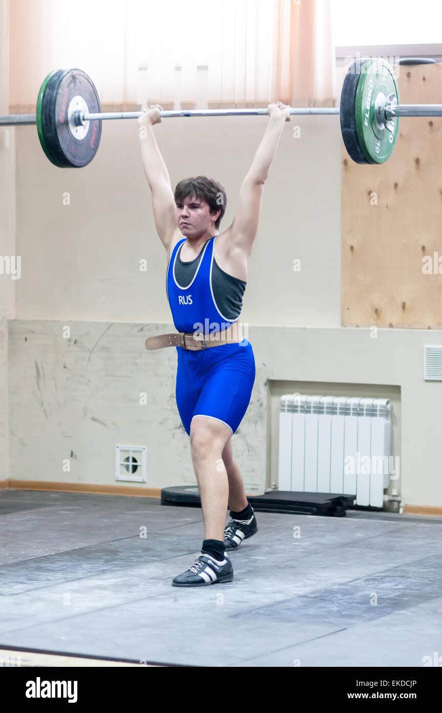 ORENBURG, ORENBURG region, RUSSIA, February 2, 2014 year, Orenburg oblast Championship weightlifting - Stock Image
