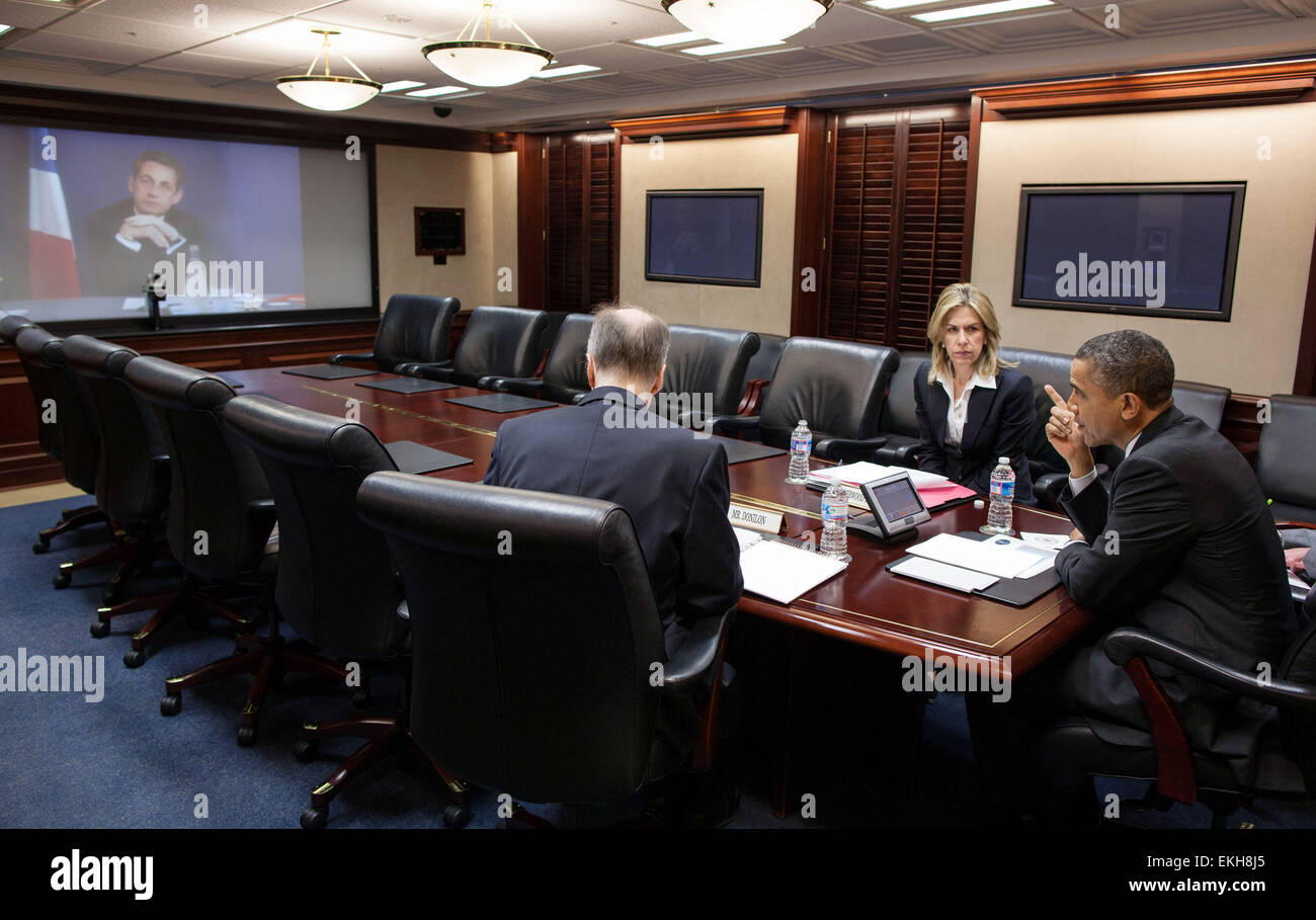 12.APRIL.2012. WASHINGTON  PRESIDENT BARACK OBAMA PARTICIPATES IN A VIDEO TELECONFERENCE WITH PRESIDENT NICOLAS Stock Photo