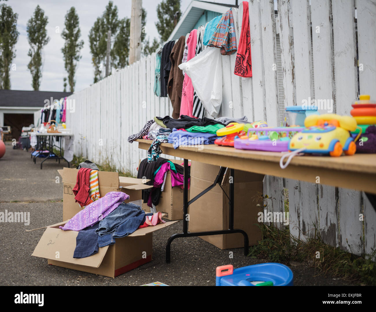 Garage Sale with lot of Items - all Logo removed. - Stock Image