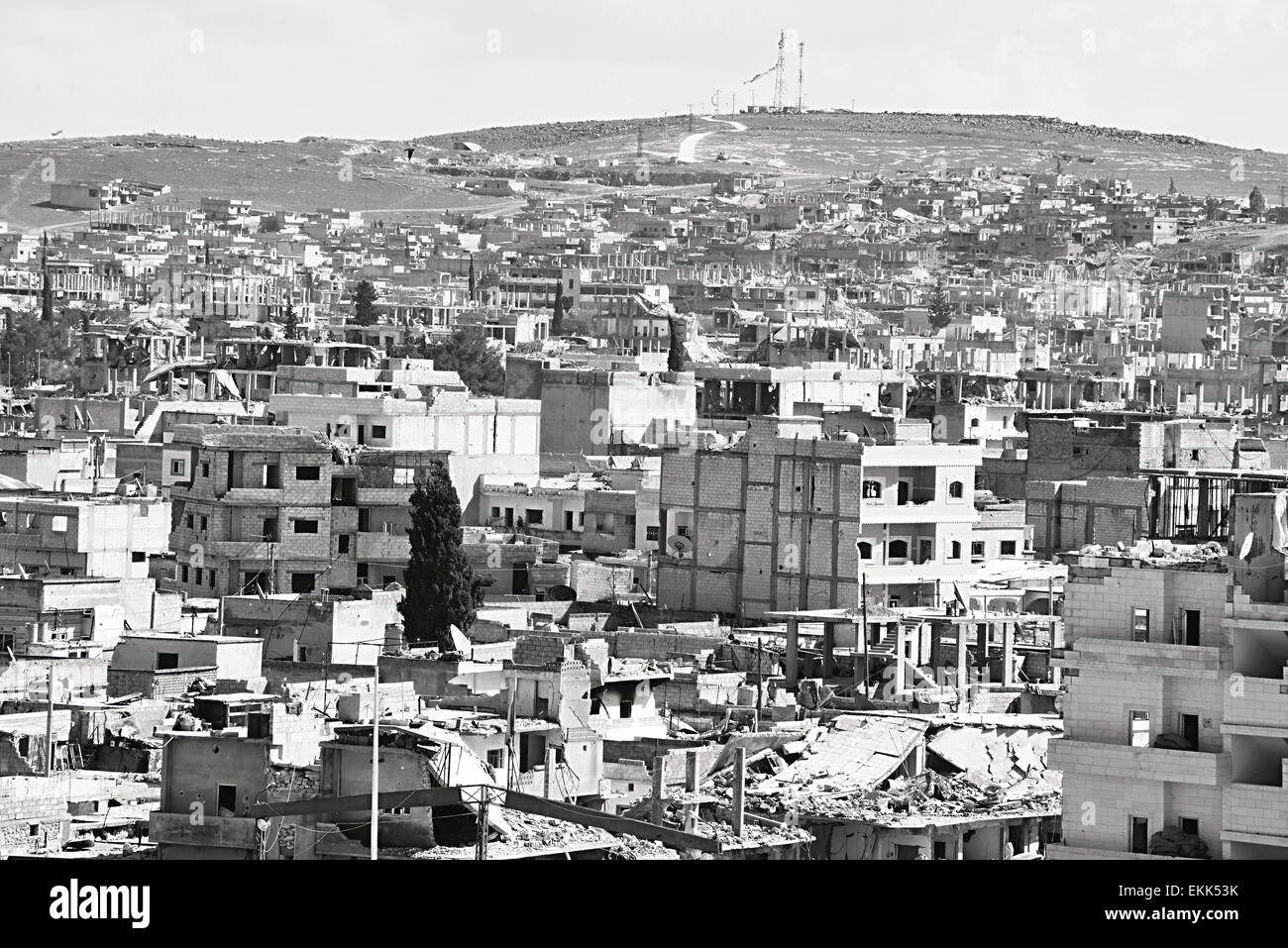 Destruction of Kobane - kurdish city in northern Syria. 31.3.2015, Kobane, Syria - Stock Image