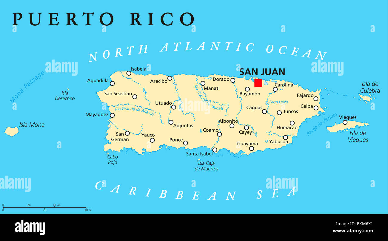 Puerto Rico Political Map Stock Photo: 80964409   Alamy