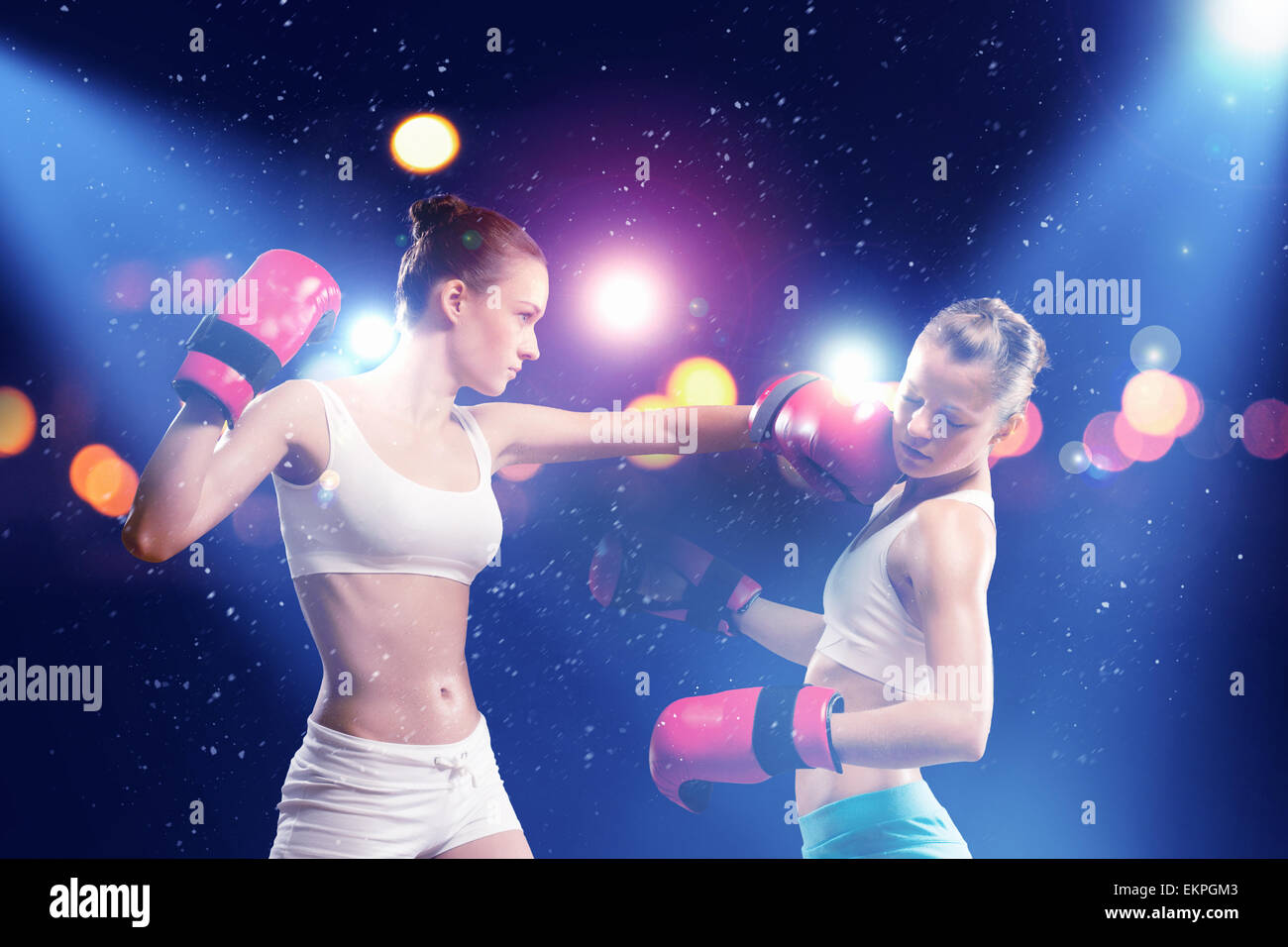 two pretty women boxing stock photo: 81015987 - alamy