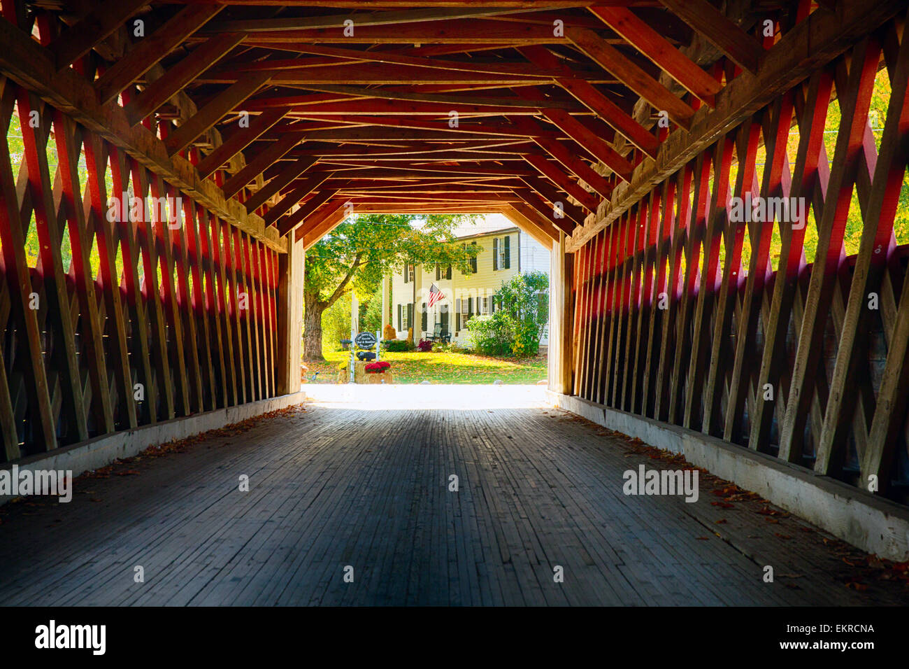 View Through a Covered Bridge, Henry Bridge, Bennington, Vermont - Stock Image
