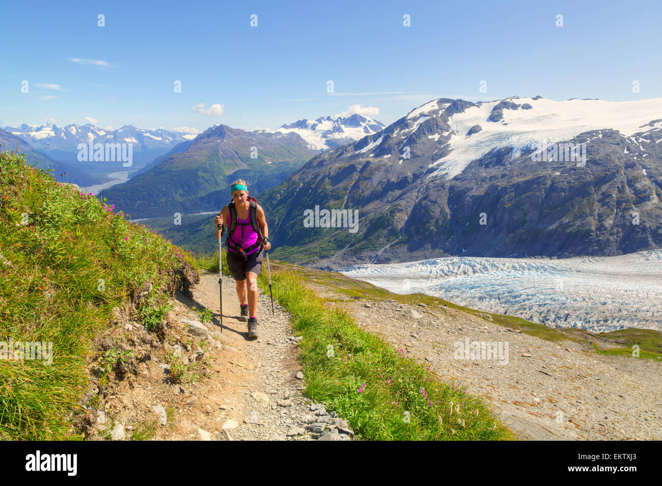 Glacier,Hiker,Alaska,Woman,Mountain Stock Photo