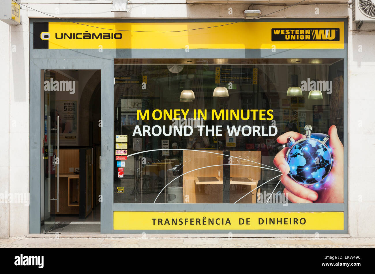 Western union money transfer office bureau in lisbon lisboa stock