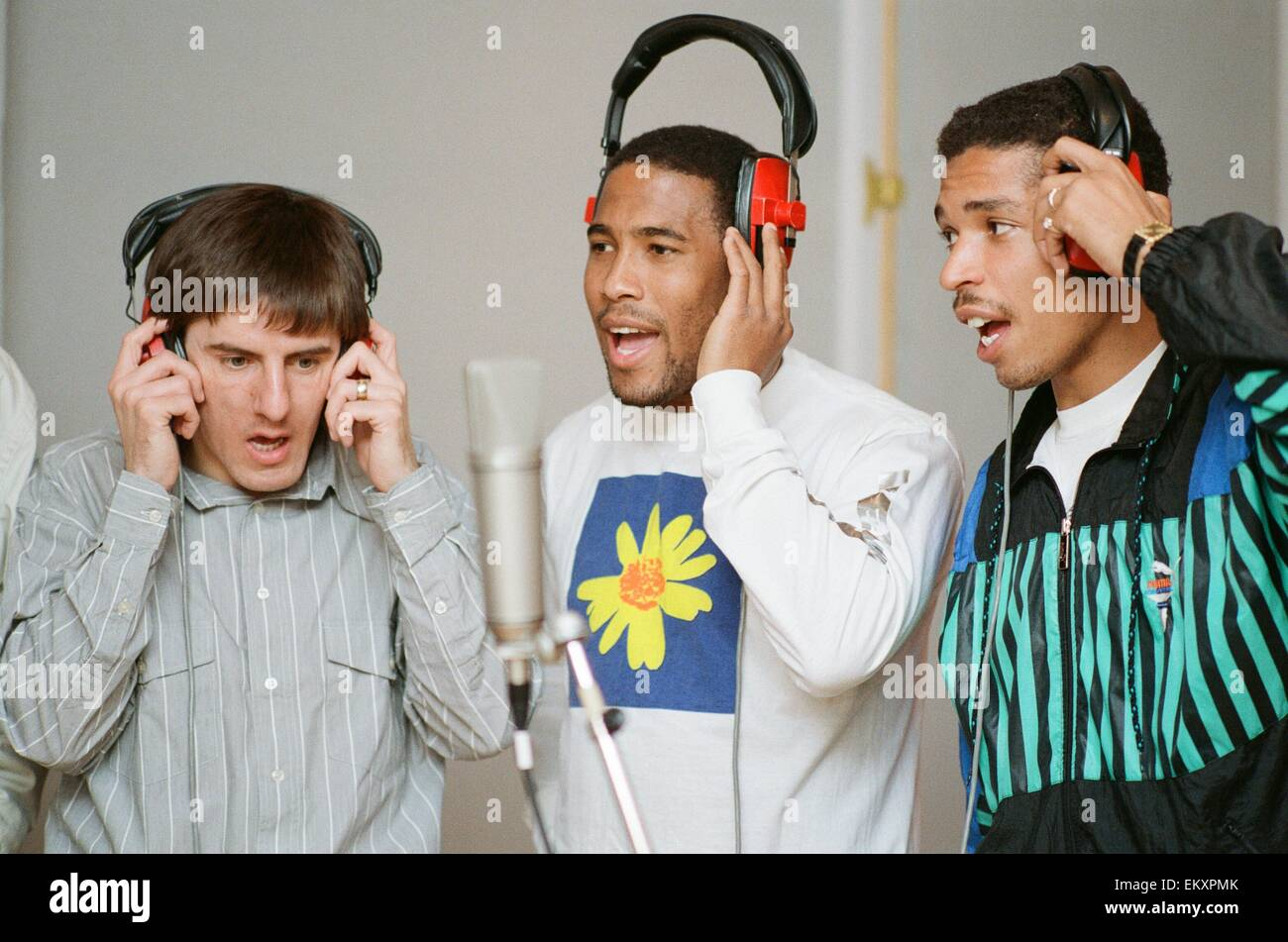 England World Cup Squad in the recording studio after joining music group New Order to record a World Cup Song ahead Stock Photo