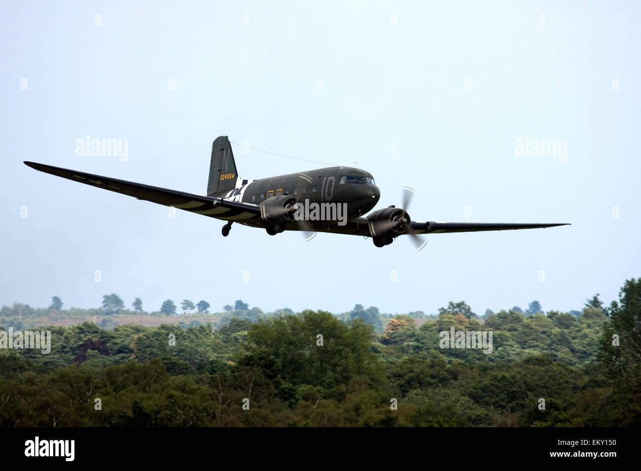 Douglas C-47A Skytrain DC-3 at  Farnborough International Airshow 2014. - Stock Image