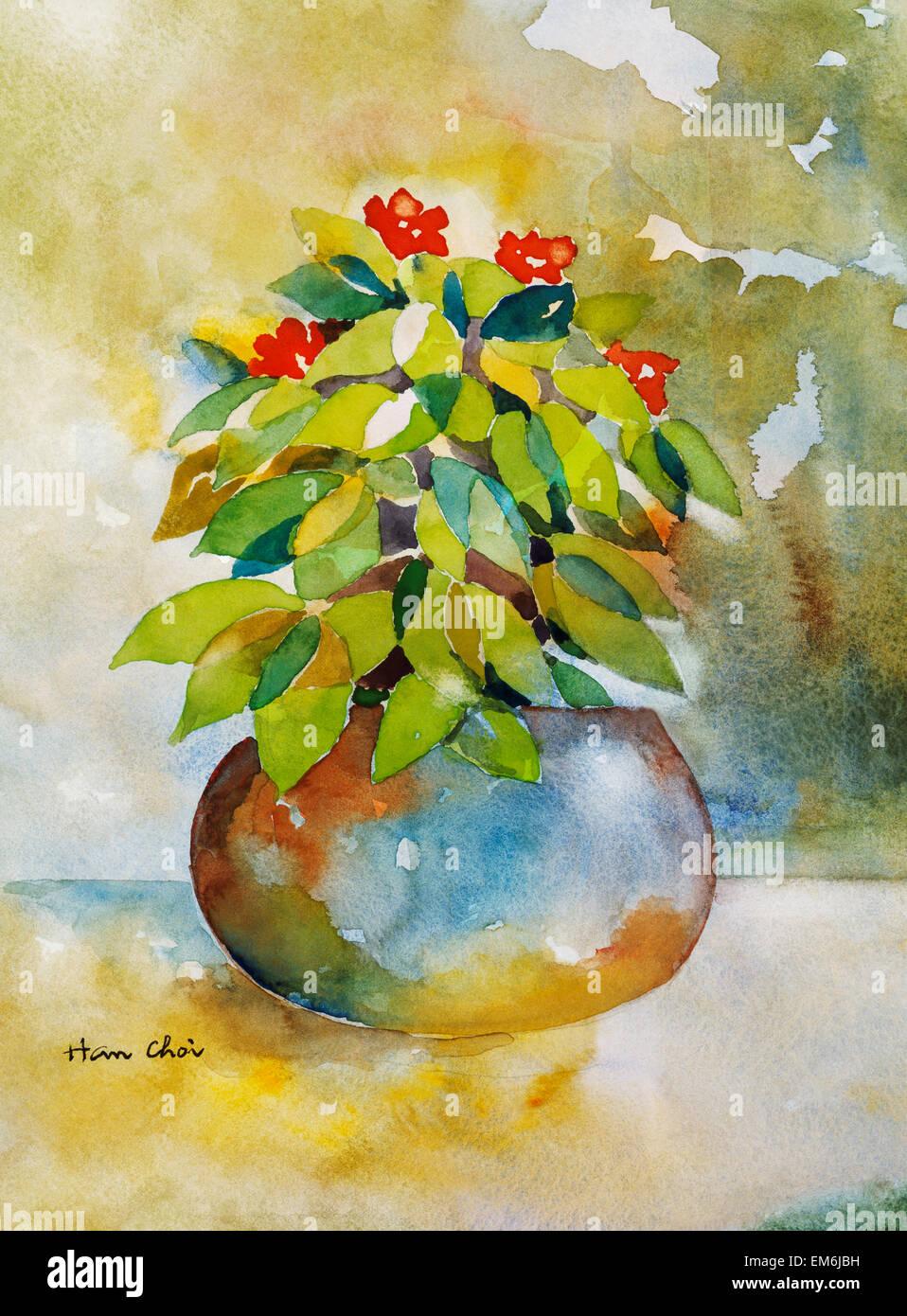 Still Life Watercolor Paintings Stock Photos & Still Life Watercolor ...