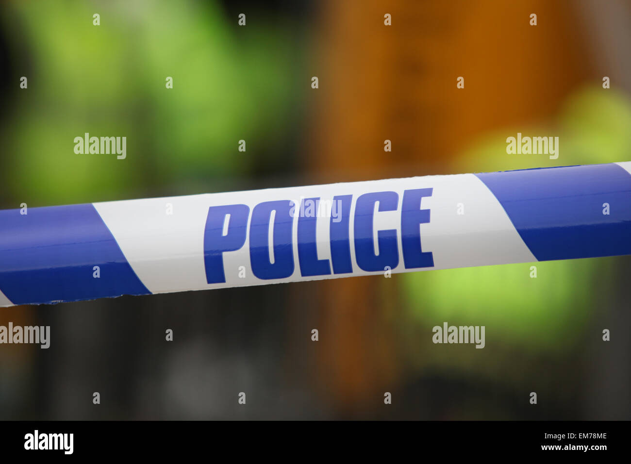Police tape at the scene of an accident Stock Photo