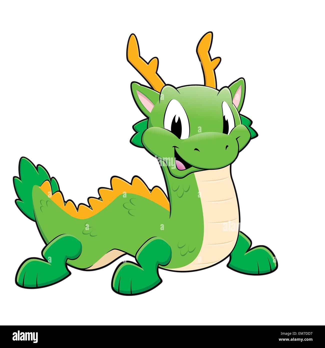 Green Chinese Dragon - Stock Image