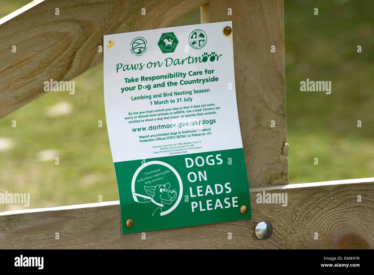 sign for dog walkers on dartmoor - Stock Image
