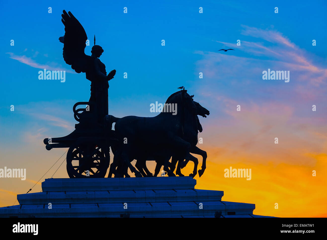 Goddess Victoria riding on quadriga, Rome - Stock Image