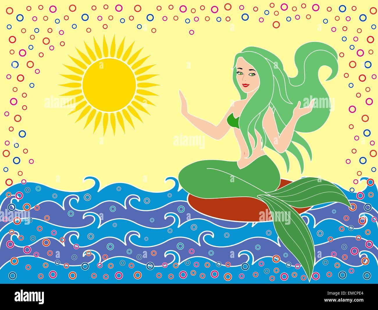 Mermaid on the sea waves - Stock Image