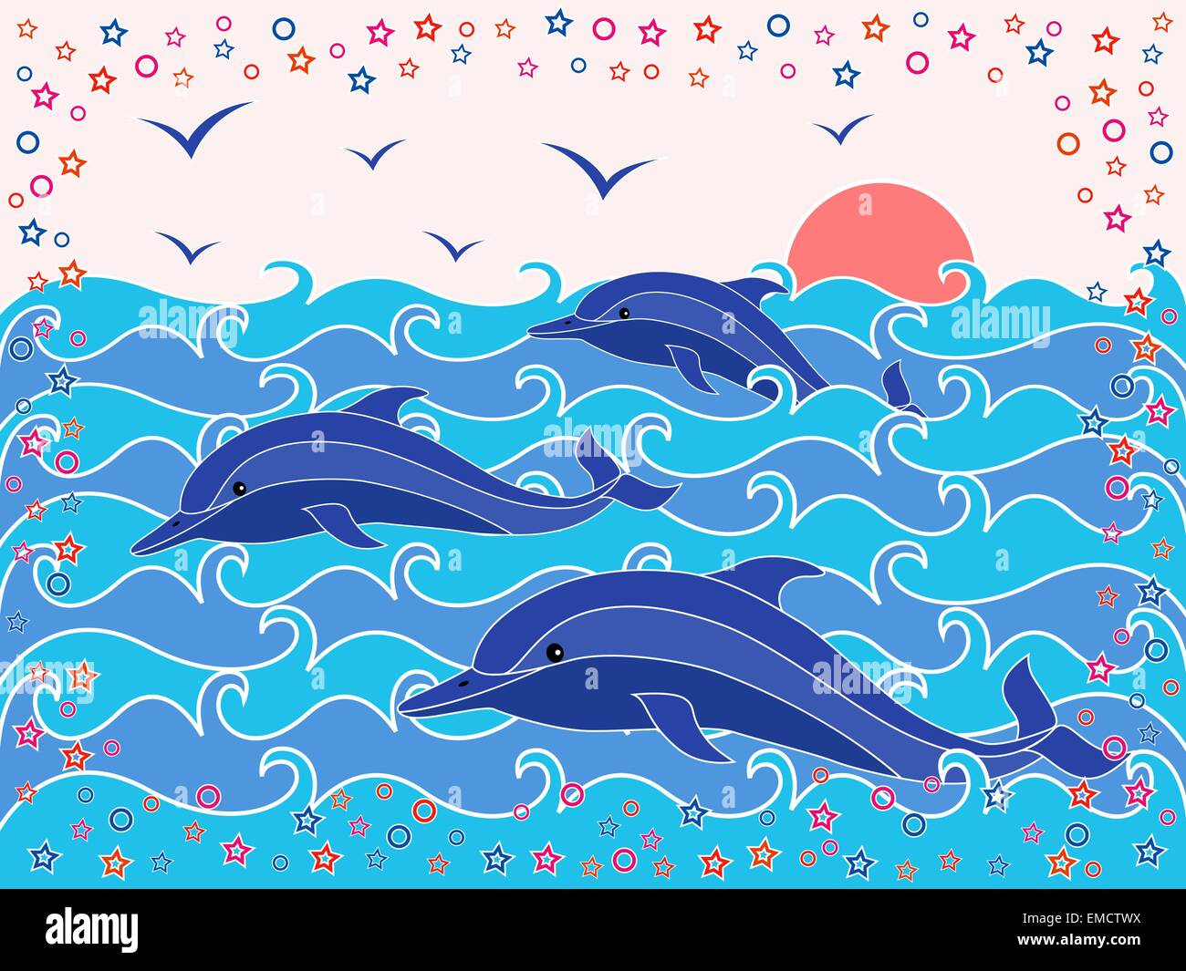 Three Dolphins in the sea waves - Stock Image