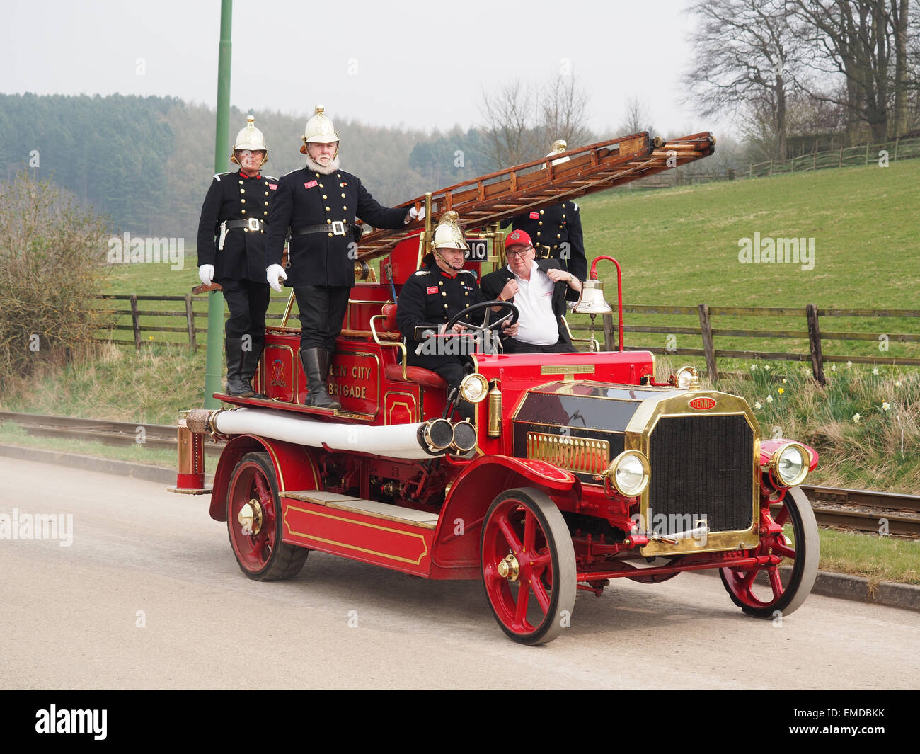 A vintage fire engine from the early 20th century being demonstrated at the Beamish Open Air Museum in Co. Durham. Stock Photo