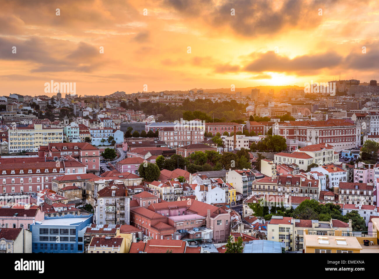Lisbon, Portugal cityscape during sunset. - Stock Image