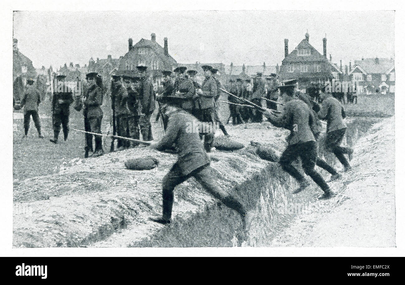 This photo from World War I shows the training of 'Kitchener's 'mob' to rush the Germans, a lesson - Stock Image