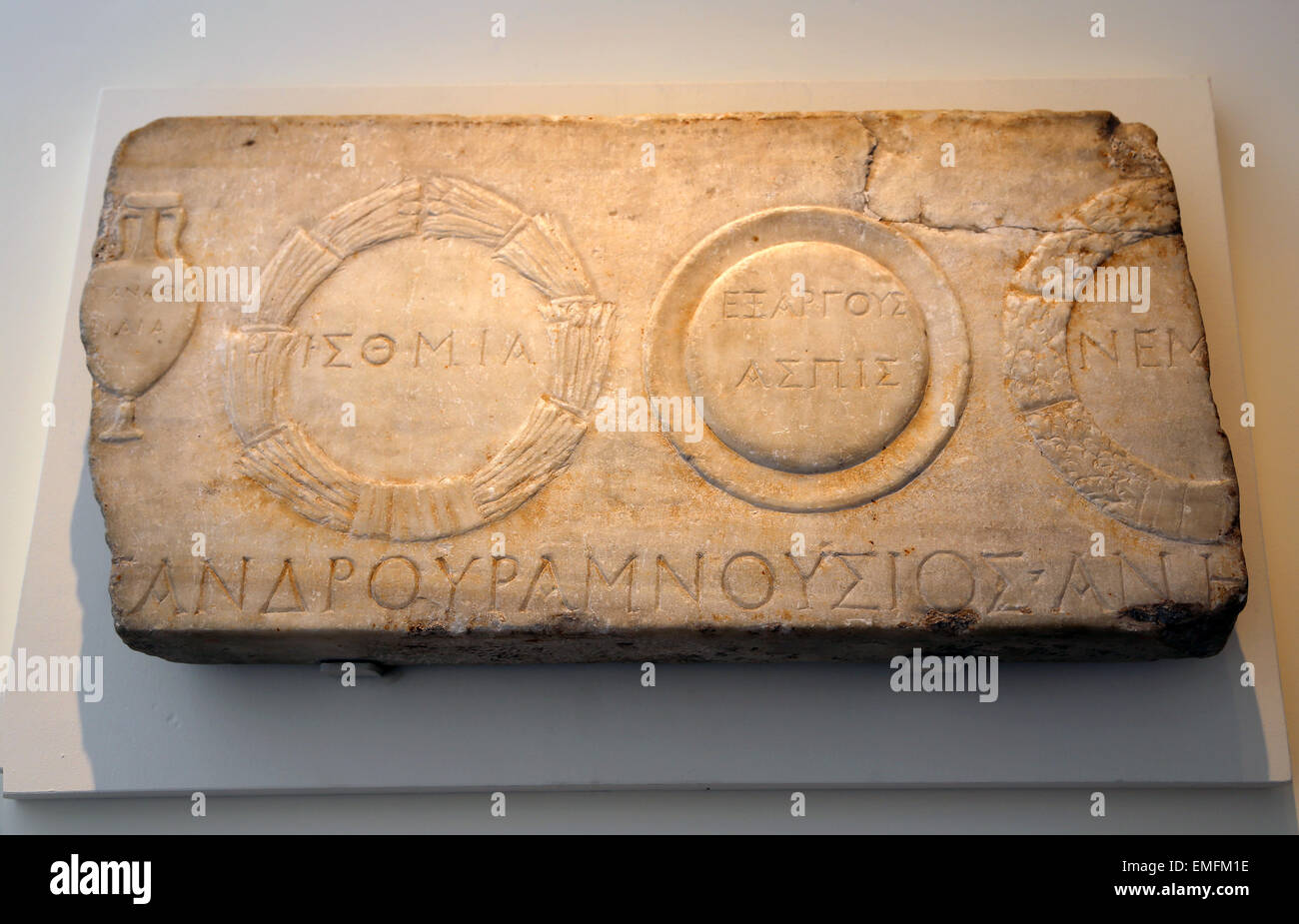 Relief depicting athletic prizes. Roman. Mid-Imperial, Antonine, 2nd c. Amphora of olive from the Panathenaic  games, - Stock Image
