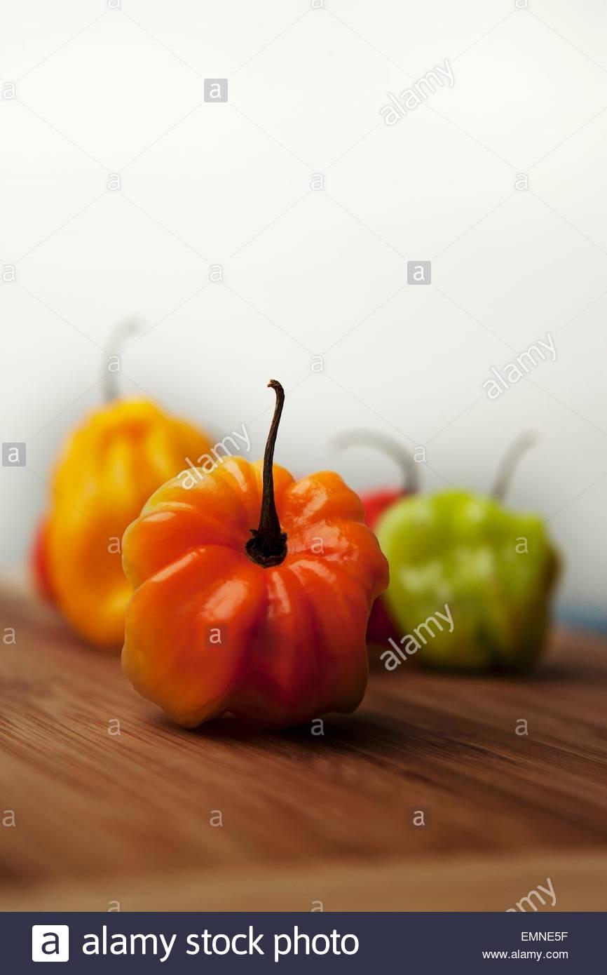 Several Habanero chillies - Stock Image