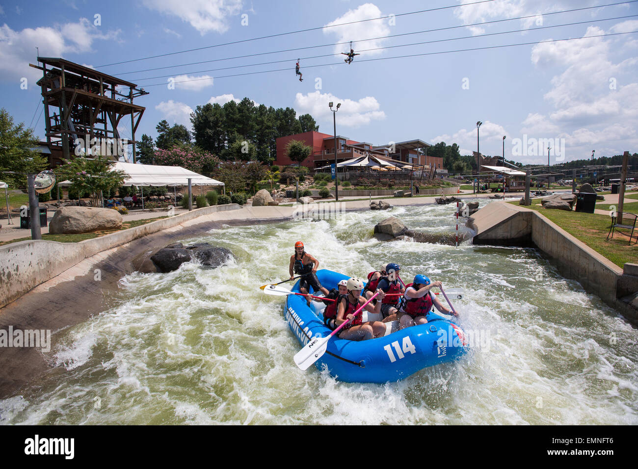 People enjoy the U.S. National Whitewater Center in Charlotte, NC. Stock Photo