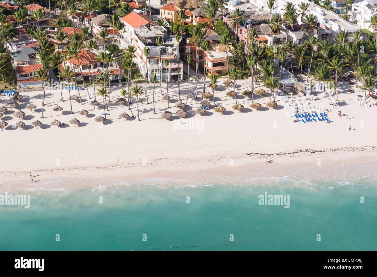aerial view of beach along now larimar beach resort punta cana