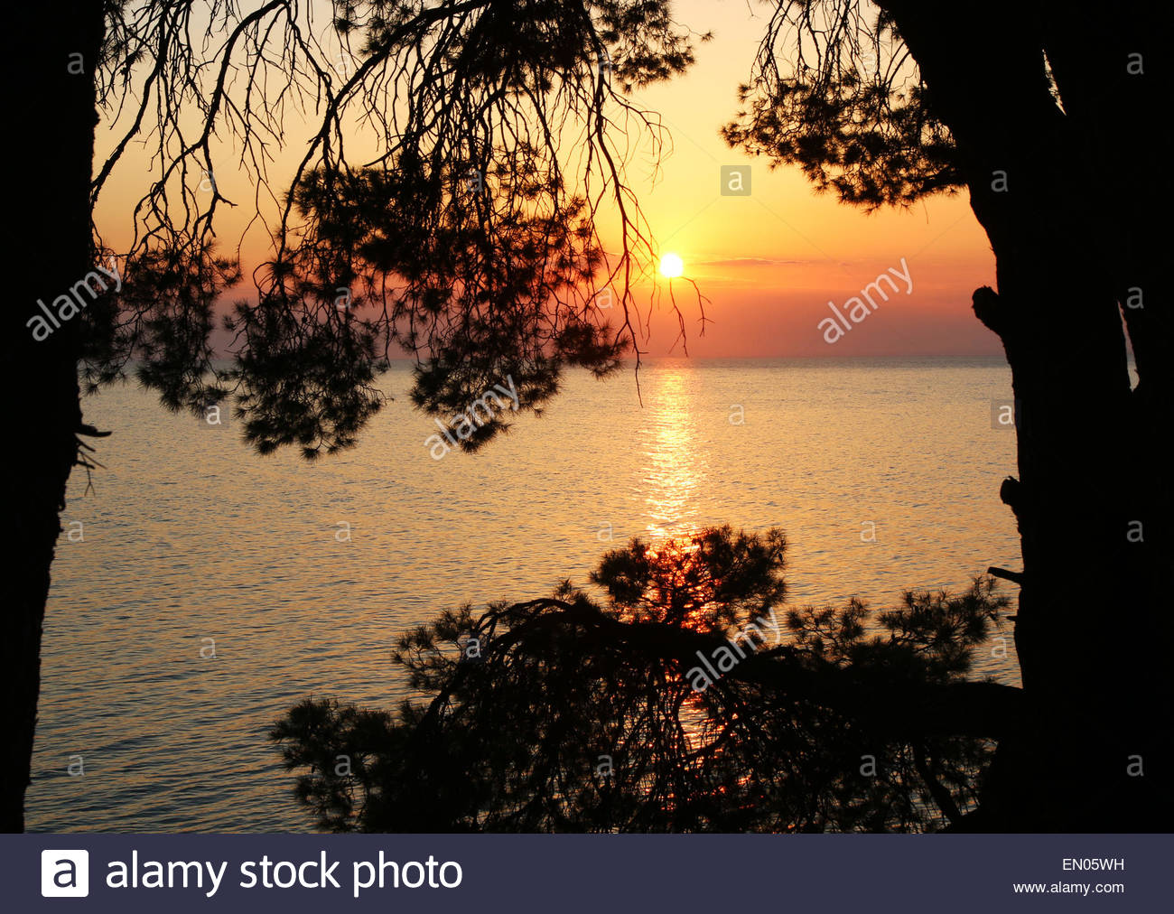 Elia Beech, Halkidiki, Greece, 24th April 2015 The beautiful evening sunsets in the scenic coastline of the Sithonia - Stock Image