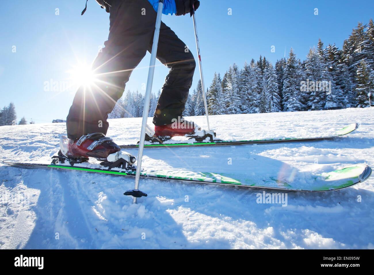 close up of ski low angle - Stock Image