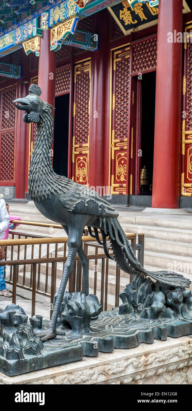 China, Beijing . Summer imperial Palace. Figures of mythical creatures at the entrances to the building. - Stock Image
