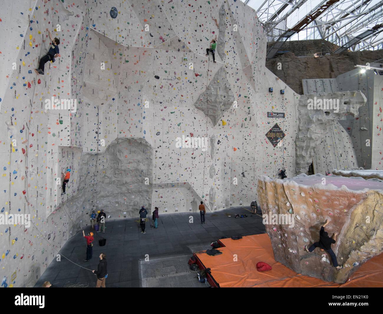 Edinburgh International Climbing Arena - World's largest indoor climbing area. Ratho, nr Edinburgh, Scotland. - Stock Image